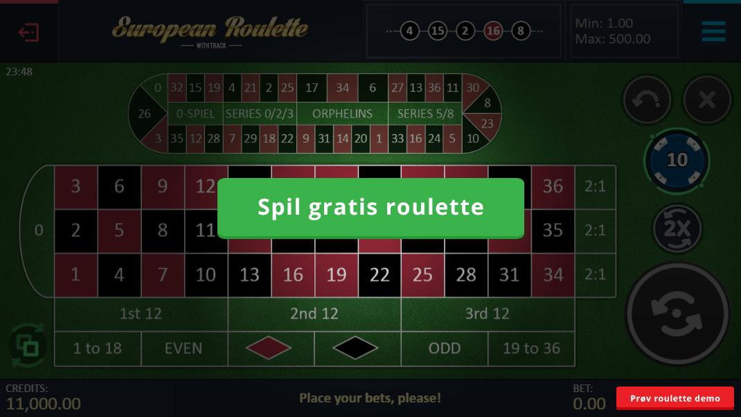 Spil gratis roulette og helt risikofrit